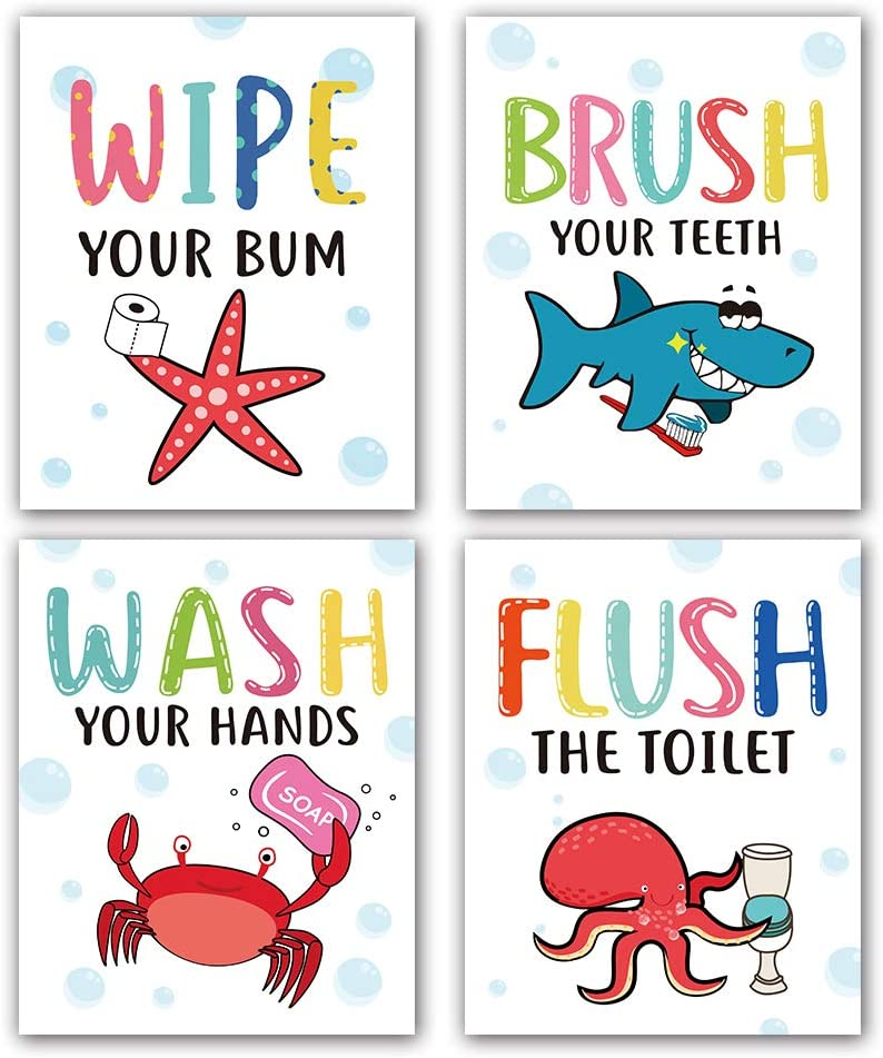 """Funny Colorful Cartoon Sea Life Themed Bathroom Inspirational Quotes Art Print Humorous Quotes Painting, Toilet Rules Art Picture for Children Washroom Bathroom Decor, Set of 4 (8""""X10""""), No Frame"""