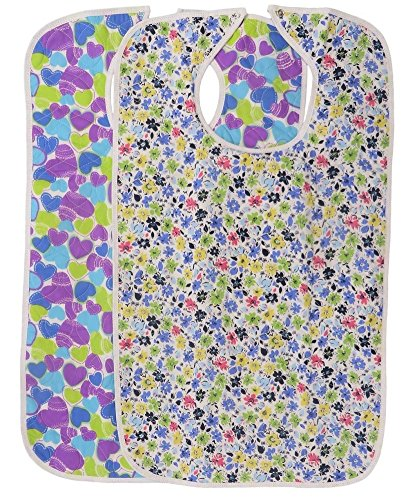 Quilted Washable Adult Bib with Snap Closure-Assorted Prints-2 per Package (Hearts & Flowers) - Heart Snap Closure