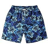 Board Shorts with Pockets,Men's Striped Swim Trunks Quick Dry Surfing Running Beach Shorts Dark Blue