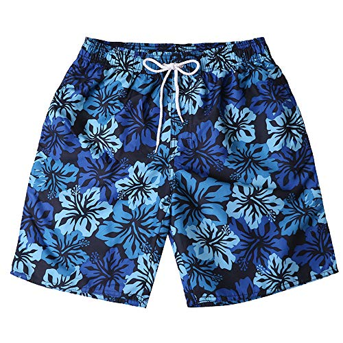 Board Shorts with Pockets,Men's Striped Swim Trunks Quick Dry Surfing Running Beach Shorts Dark Blue by Cathalem_Men's Swim Trunks (Image #1)