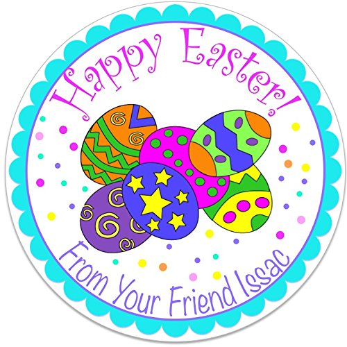 40 round labels 2 happy easter personalized stickers personalized labels for easter baskets
