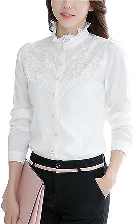 DPO Women's Slim Fit Lace Vintage Elegant Polo Shirt Long Sleeve Blouse Tops