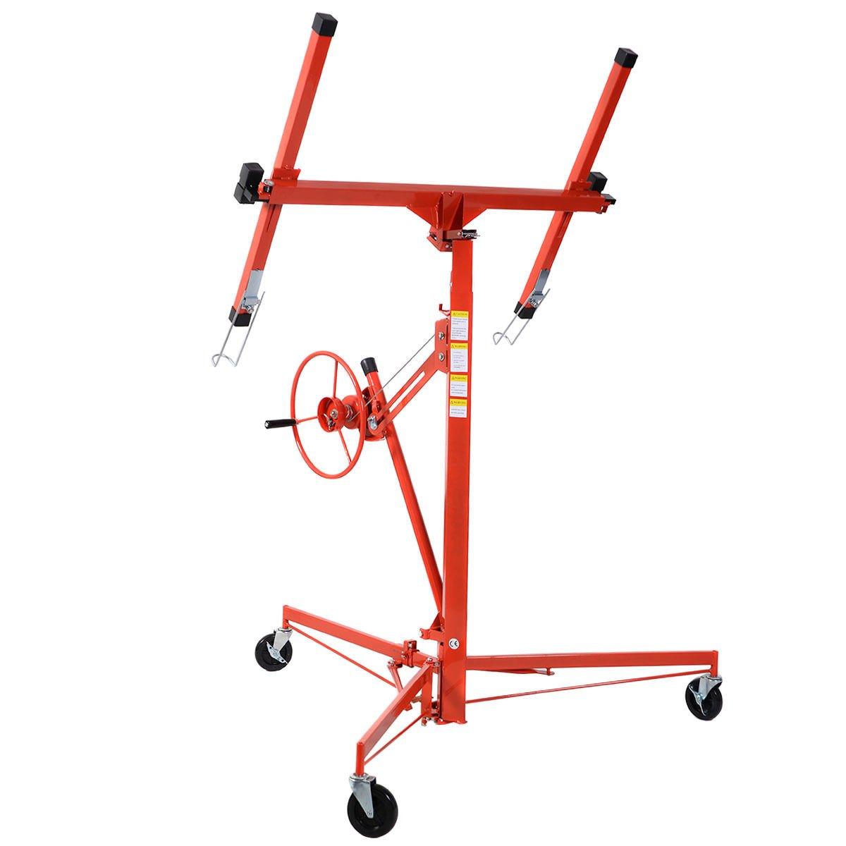 Goplus Drywall Lift 11' Panel Hoist Jack Lifter Construction Tools Lockable w/ Caster Wheel, Red