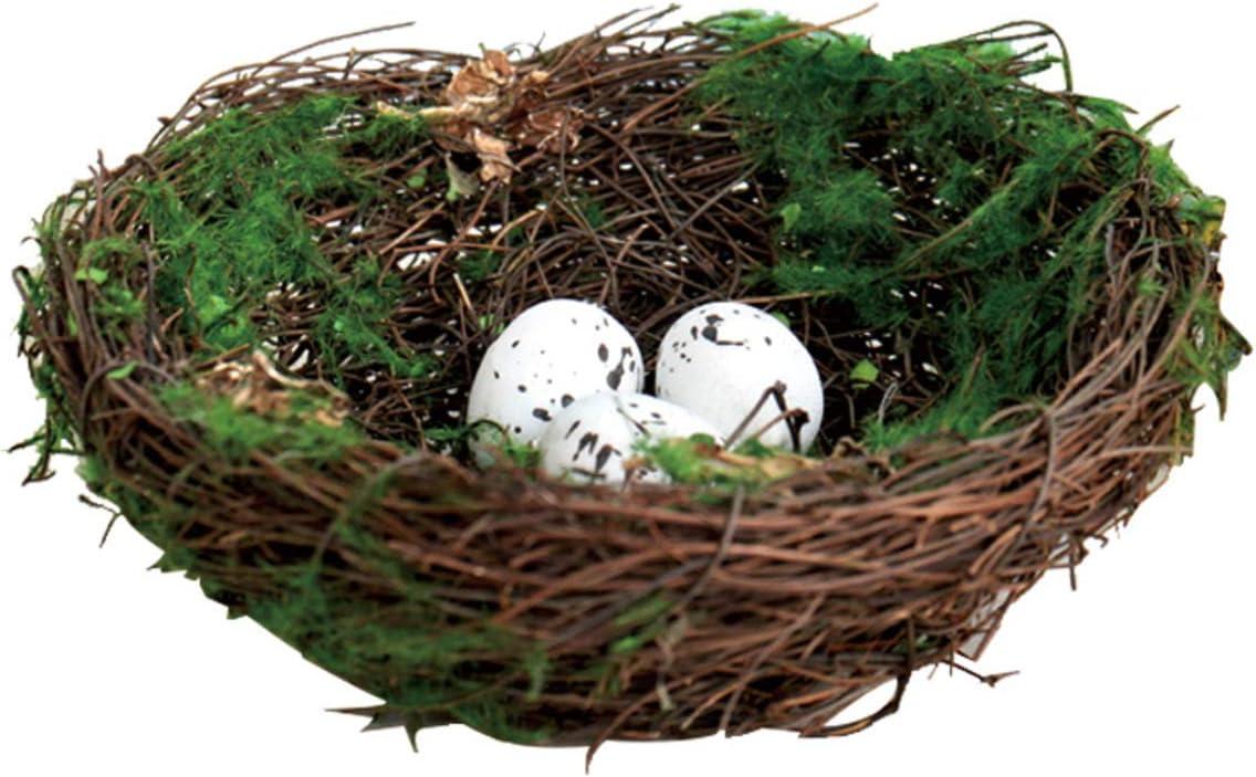 KKJJ Home Decoration Artificial Nest Natural Bird Nest Kit Includes Artificial Twig Nest,Foam Eggs Ornaments for Crafts Home Party Decor-C 7inch