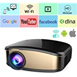 Wireless Wifi Video Projector Full HD 1080P, iBacakys Portable LED Mini Home Cinema Movie Projector With HDMI USB VGA AV Compatible with IOS Android Smartphones PC TV Laptop