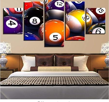 Sin Marco) Pinturas en Lienzo decoración para el hogar Arte de la Pared 5 Piezas de Color Billar Paisaje Fotos para Sala de Estar HD Imprime Juego Poster: Amazon.es: Hogar