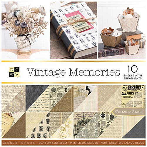 - DCWV PS-005-00640 Premium 36 Sheets Vintage Memories Paper Stack, Multicolor