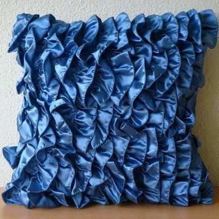 Designer Blue Throw Pillows Cover, Vintage Style Ruffles Sha