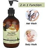 Shampoo & Gel Doccia, Y.F.M 2 in 1 Doccia Shampoo Energizzante Olio Essenziale dell'Albero di Tè Fare Bagno e Doccia Cura del Corpo Idratante Anti-stress 500 ML