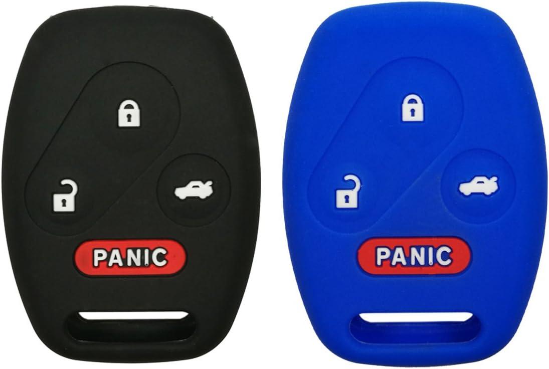 2Pcs Coolbestda Rubber Key Fob Protector Case Keyless Entry Holder Cover Jacket for Honda Civic SI Hybrid EX 2006-2013 Accord 2003-2012 CR-V EX SE 2005-2006 Pilot 2009-2015 Element 2010