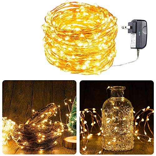 Copper White Bulb - Starry String Lights Warm White Color LED's on a Flexible Copper Wire - LED String Light with 120 Individually Mounted LED's, 40ft