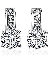 Women Cubic Zirconia Crystal Silver Plated Stud Earrings