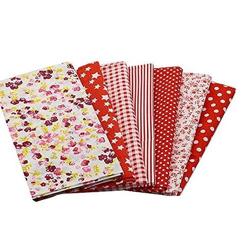 7 Telas diseños rojos de 50 X 50 cm para manualidades, costura, scrapbooking,