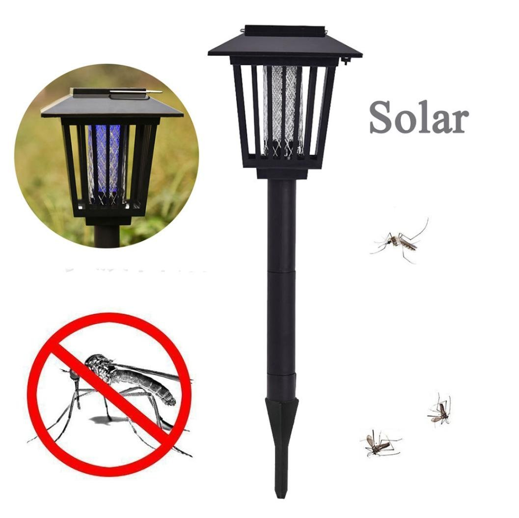 Kanzd Mosquito Insect Zapper Accent Kill Bugs Killer with Solar LED Garden Light Lamp (Black)