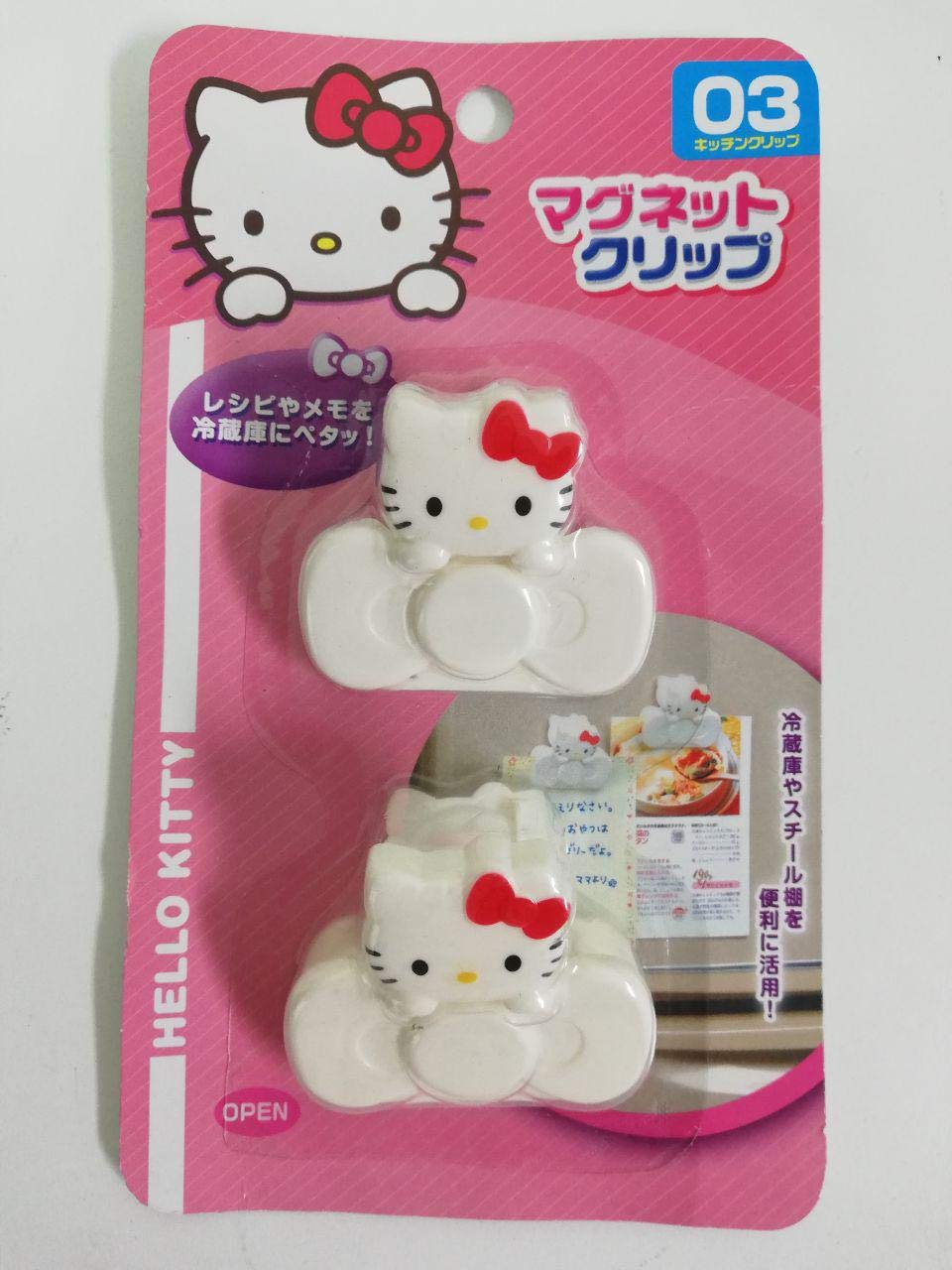 Hello Kitty Magnet Clip(2p) Refrigerator Fridge Paper Magnetic Clasp Holder Memo
