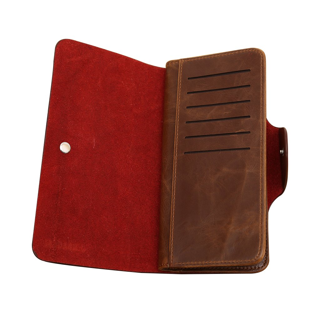 Colorido Men Faux Leather Button Closure ID Credit Card Pocket Long Bifold Wallet