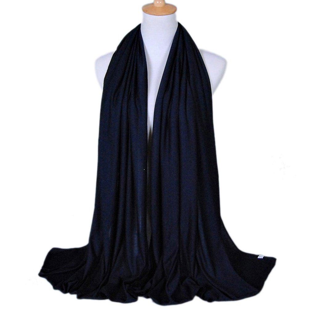 LMVERNA women muslim jersey scarf hijab cotton popular scarves fashion long scarf (Navy blue)