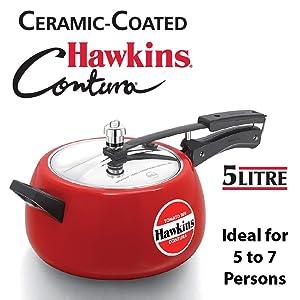 Hawkins CTR50 Pressure Cooker, 5 L, Red