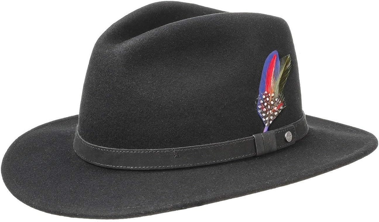 Stetson Yutan Sombrero de Fieltro Mujer/Hombre - con Fieltro de Lana de Asahi Guard - Impermeable y Resistente a Las Manchas - Sombrero de Exteriores Plegable - Verano/Invierno -