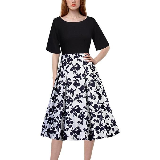 Vestidos Vintage Blanco Y Negro Mujer LHWY, Vestido De Retazos Con Estampado De Floral Cuello