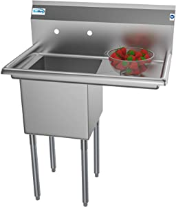 """KoolMore 1 Compartment Stainless Steel NSF Commercial Kitchen Prep & Utility Sink with Drainboard - Bowl Size 15"""" x 15"""" x 12"""", Silver"""