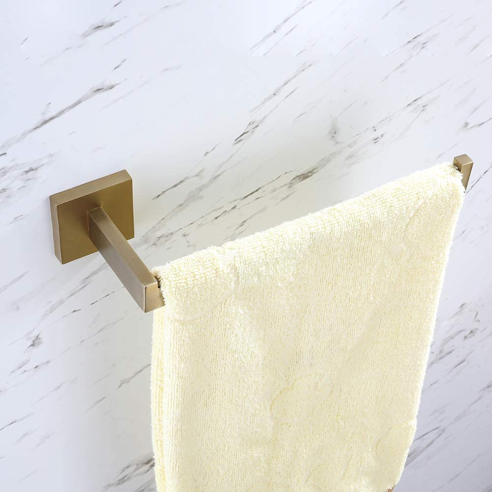 TURS 4-Piece Bathroom Accessory Set SUS 304 Stainless Steel Toilet Paper Holder Towel Bar Robe Hook Towel Ring Wall Mount Q7006LJ-B Brushed Gold