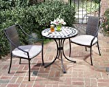 Home Style 5605-340 3-Piece Outdoor Bistro Set, Black Finish