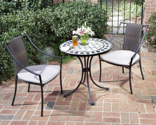 Home Style 5605-340 3-Piece Outdoor Bistro Set, Black Finish by Home Styles
