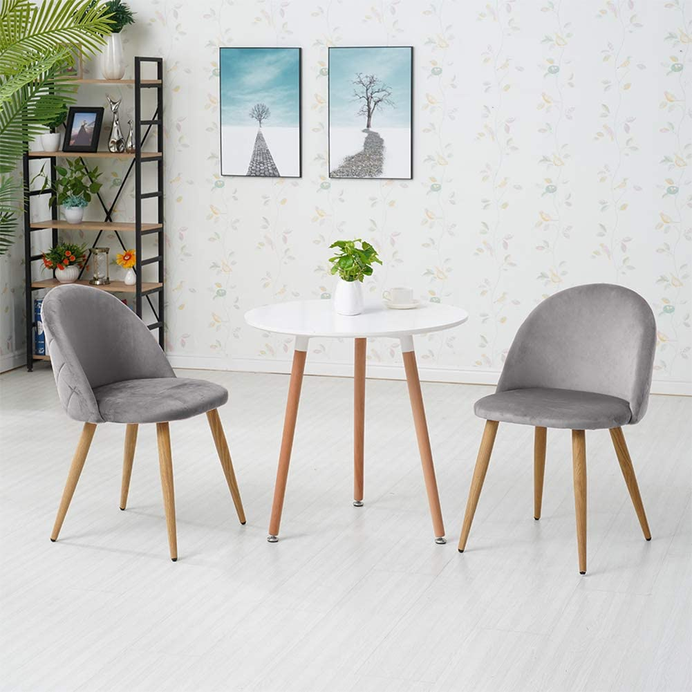 Kitchen,Office and Restaurant CLIPOP Dining Chairs Set of 2 Velvet Kitchen Chairs with Backrest and Wooden Style Sturdy Metal Legs Living Room Lounge Leisure Chairs for Living Room Grey, 2