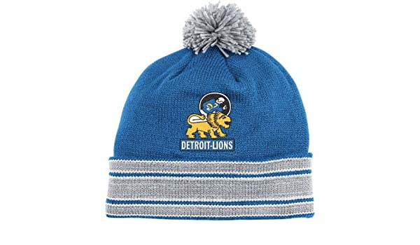new style 91505 0a498 ... italy amazon nfl mitchell ness detroit lions throwback jersey cuffed knit  hat royal blue silver sports
