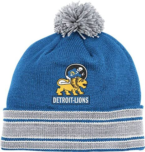 167adb6484f4c ... new style nfl mitchell ness detroit lions throwback jersey cuffed knit  hat royal blue silver ca5ea
