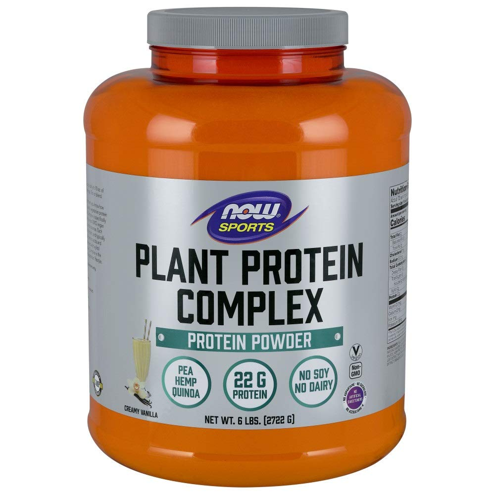 Now Sports Nutrition, Plant Protein Complex Powder, Creamy Vanilla, 6-Pound by NOW Foods