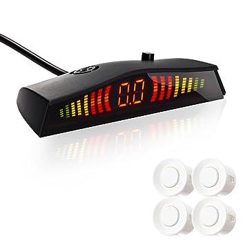 Favoto Detector de Radar Sistema de Aparcamiento Copia de Seguridad con 4 Sensores Kit Pantalla LED de Visión Marcha atrás y Alarma Sonido para Coche Auto ...