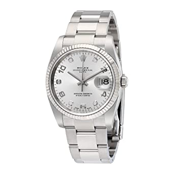 e8389898969e Image Unavailable. Image not available for. Color  Rolex Oyster Perpetual  Date 34 Silver Dial Stainless Steel Rolex Oyster Automatic Mens Watch  115234SADO