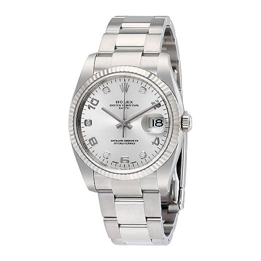 Rolex Oyster Perpetual Fecha 34 plata Dial Acero inoxidable Acero Rolex Oyster automático Mens Reloj 115234sado: Amazon.es: Relojes