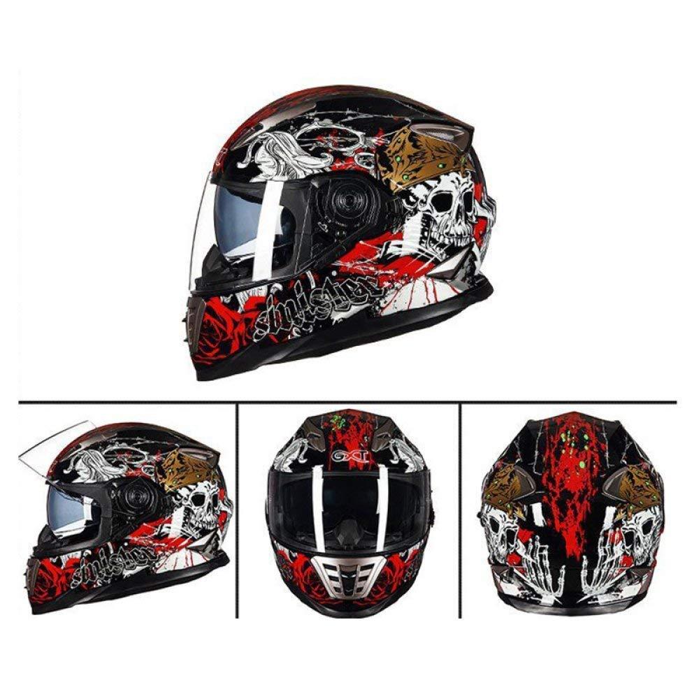Casco de Motocicleta de Cara Completa Casco de Carreras de Playa ATSWKJ Casco de Motocross Adulto Casco de Karting Casco General para Hombres y Mujeres,A,M