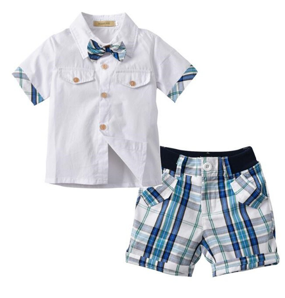 EGELEXY Kids Boys Summer Short Sleeves Gentleman Bow Tie Shirts+Plaid Shorts Suits Size 5-6 Years/Tag130 (White)