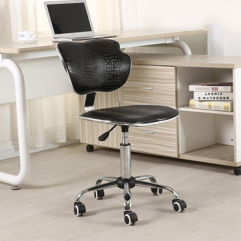 持ち上がる機能が付いている革オフィスチェア黒のキャスターが付いている理髪椅子の上昇の椅子  ブラック B07MJ3J6PY