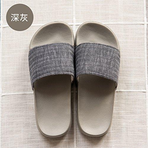 morbido semplice casa 41 slittamento colore 42 donne spessore nbsp;Pantofole pantofole estate grigio indoor soggiorno scuro uomini con Fankou anti di un solido cool 8wZOqn8H