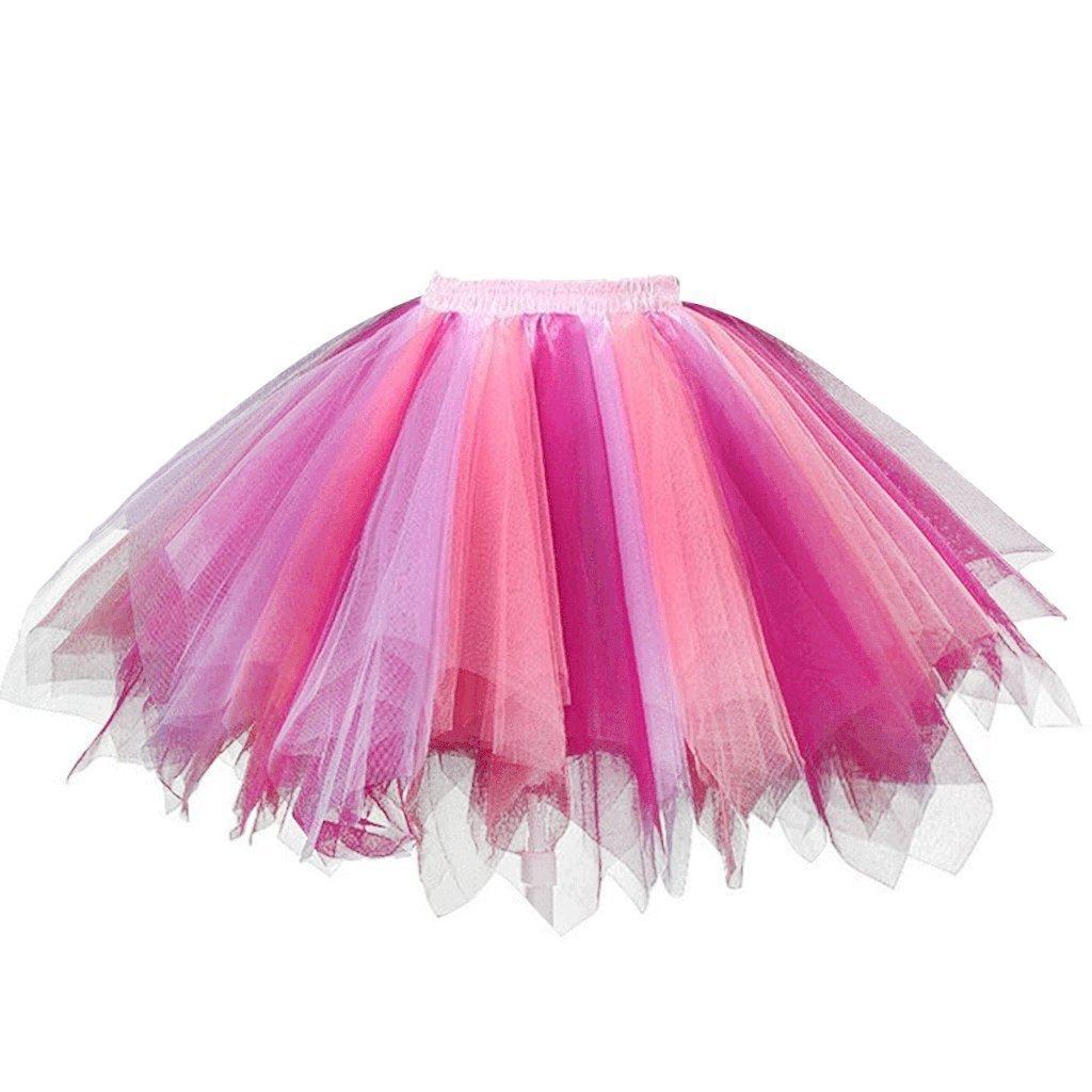 DYS Women's 1950s Knee Length Petticoat Slips Tulle Ballet Bubble Tutu Skirt