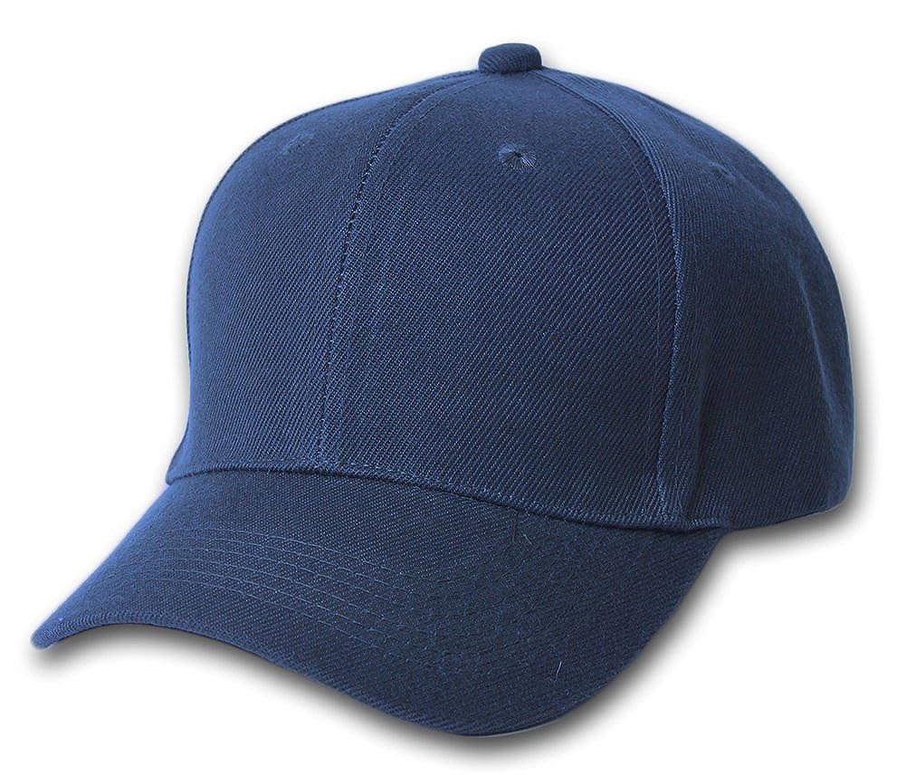992d2b904252 Plain Summer Baseball Cap Hat- Navy at Amazon Men s Clothing store  Fabric  Strap With Adjustable Hook Loop Closure Cap