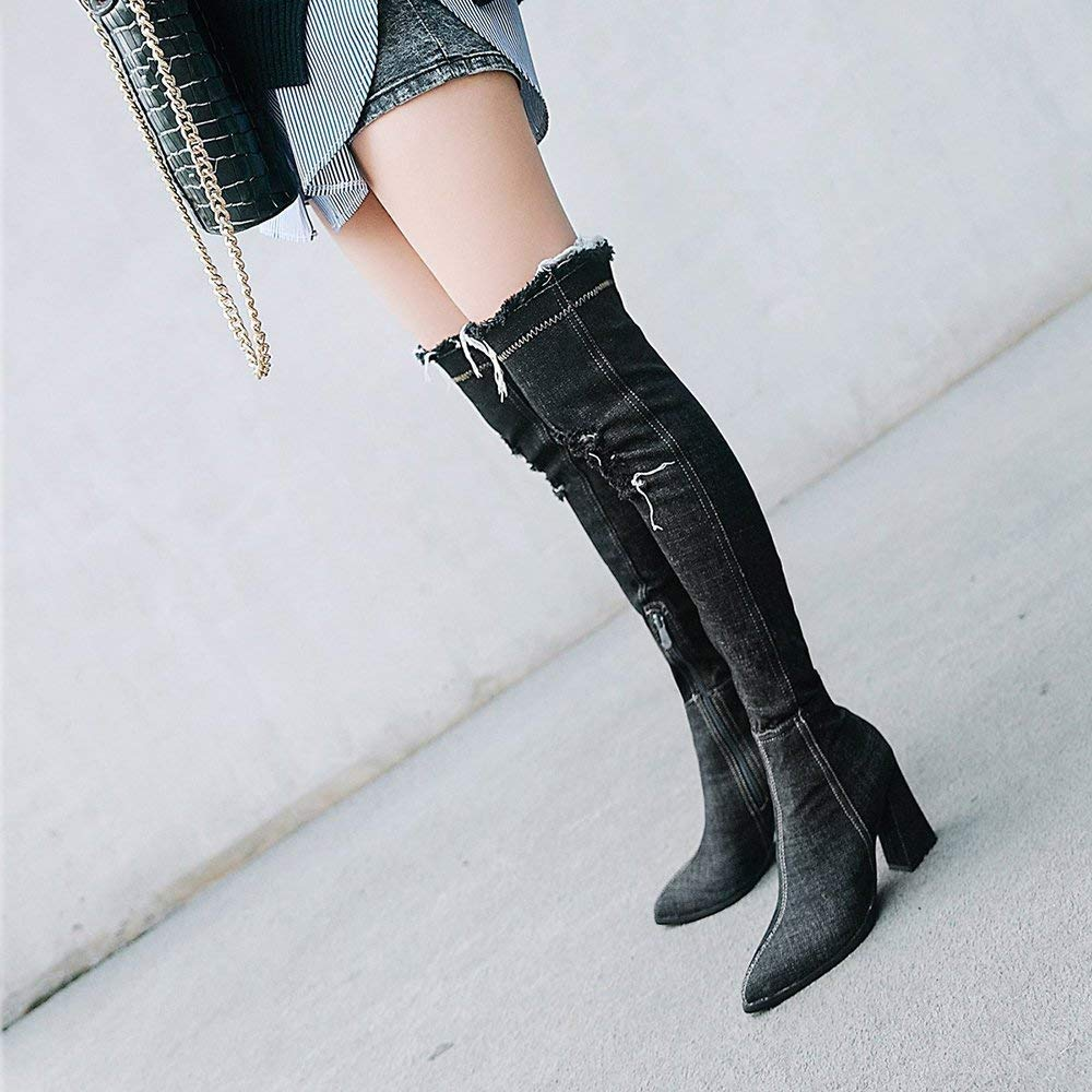 Damen Schuhe Stiefel Frauen Hohe Stiefel Ripped Stiefel Mode Winter Outdoor Elegant Stiefel Mode Stiefel Heighten Platforms 2bc88e