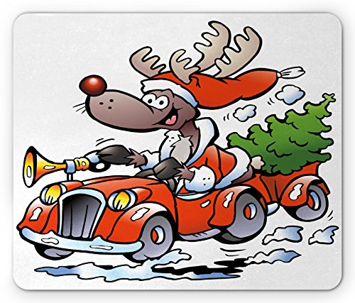 Christmas Mouse Pad by Ambesonne, Reindeer Racing in Red Vintage Car with Xmas Tree Horn Santa Hat Winter, Standard Size Rectangle Non-Slip Rubber Mousepad, White Red Green Racing Reindeer