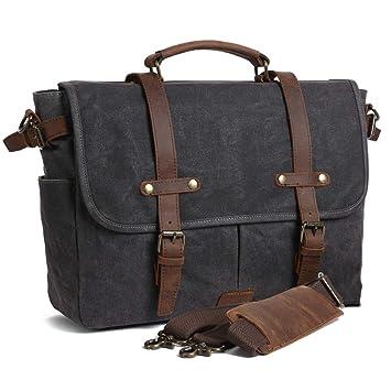 Soaeon Mens Messenger Bag 15 6 Inch Waterproof Canvas Leather Bag Computer  Laptop Vintage Bag Briefcase cfa951cf2a5e9