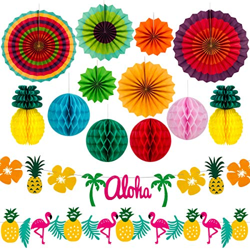 Summer Party Decoration Kit - Hanging Paper Fans and Tropical Flamingo Palm Leaf Pineapples Banners for Hawaiian Birthday Wedding Party (Fan Party Kit)