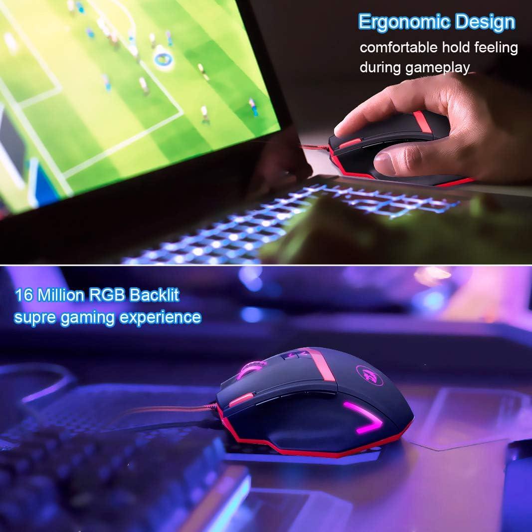 Powcan Rat/ón Gaming con Cable Profesional USB 16400 DPI con 5 Colores Ajustable RGB y 10 Bot/ón Compatible con Windows 7 XP 8 10 Vista ME 2000 y Mac OS
