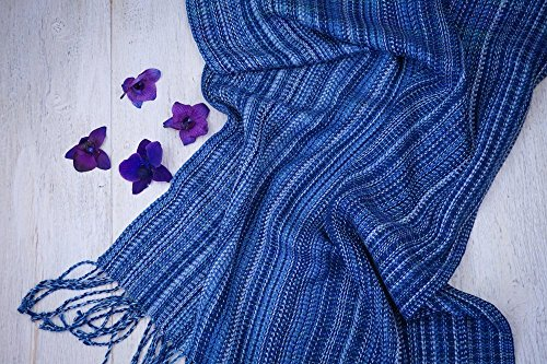 Handwoven Shawl / Woven Shawl / Blue Striped Shawl / Handwoven Scarf / Woven Scarf / Fringed Shawl / Summer Shawl/Woven Wrap/Oversized Scarf by Northern Lights Fiber Arts