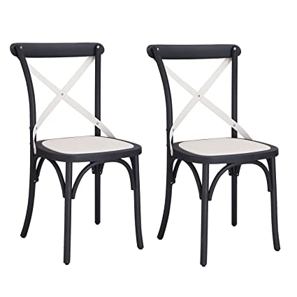 Adeco Econ Friendly Nylon Vintage Style Dining Chair Curved Leg Cross Back  (Set