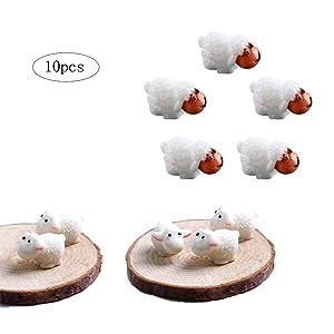 Ximimark 10 Pcs(5Male sheep+ 5Mother sheep) Mini Sheep Figurines Miniatures Home Decor DIY Animals Micro Fairy Garden