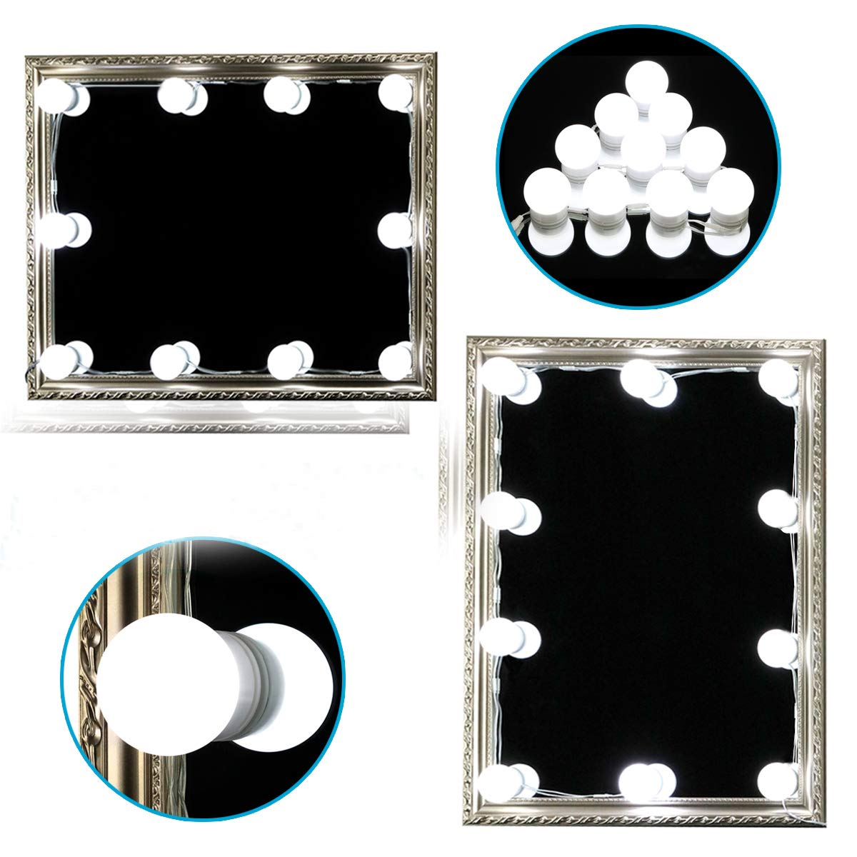 Novolido Hollywood Style LED Vanity Mirror Lights Kit with 10 Dimmable Light Bulbs Lighting Fixture Strip for Makeup Vanity Table Set Dressing Table (New Version)
